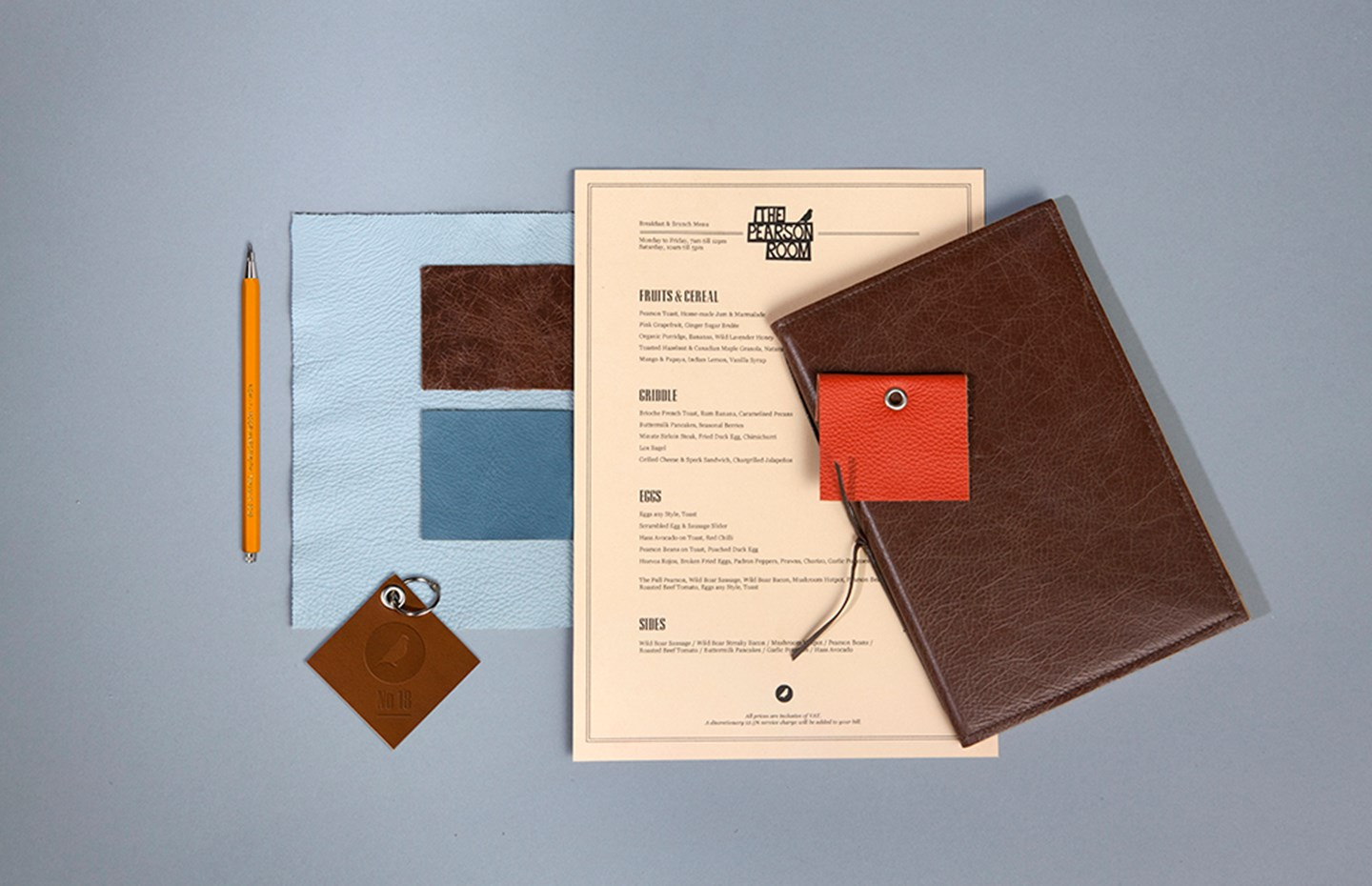 Menu design for Pearson Room, London - B3 Designers